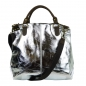 Mobile Preview: ITAL. DAMEN SCHULTERTASCHE AUS RINDLEDER IN METAL LOOK SHGM3535