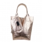 Preview: Damen Schultertasche Shopper aus Rindleder in Metallic Look SHM231