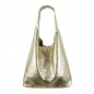 Preview: Damen Schultertasche Shopper aus Rindleder in Metallic Look SHML246