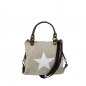 Mobile Preview: ITAL. DAMEN SCHULTERTASCHE SHOPPER IN CANVAS UND LEDER MIT STERN DRUCK MINI SHCV2616
