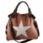 Mobile Preview: ITAL. DAMEN SCHULTERTASCHE SHOPPER IN CANVAS UND LEDER MIT STERN DRUCK SHCV2626