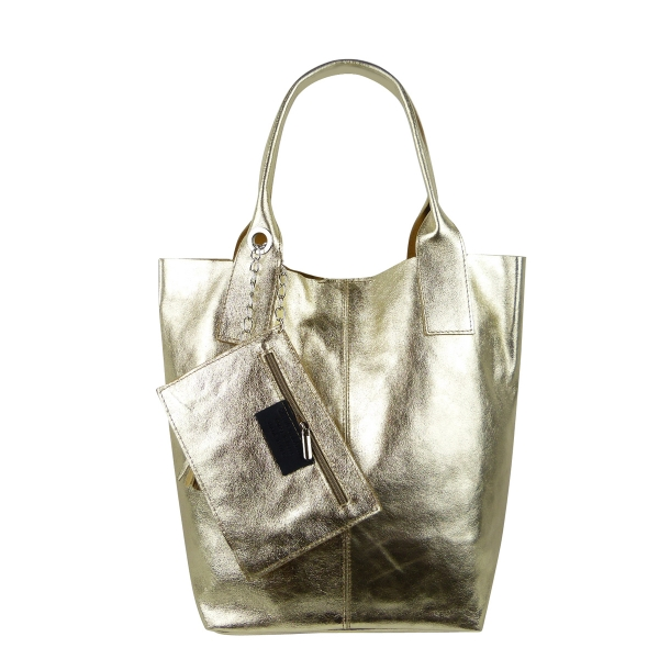 Damen Schultertasche Shopper aus Rindleder in Metallic Look SHM231