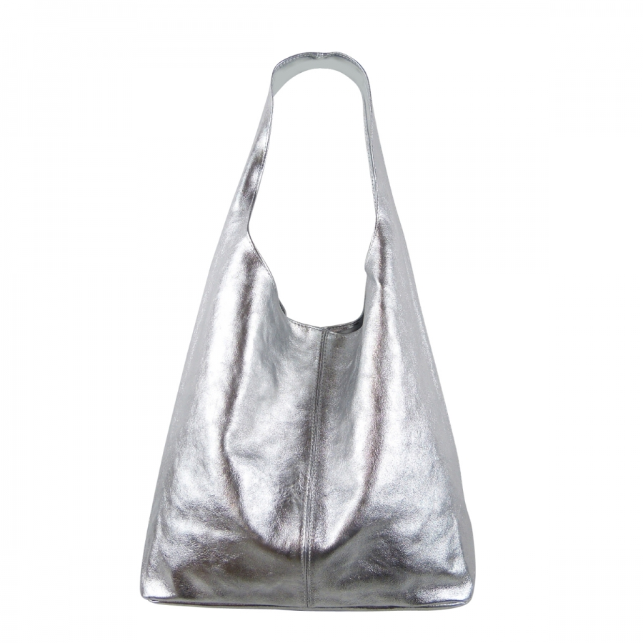 Damen Schultertasche Shopper aus Rindleder in Metallic Look SHML246